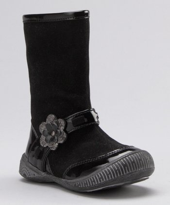 Black & Suede Flower Boot
