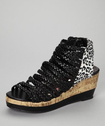 Black Leopard Gladiator Sandal