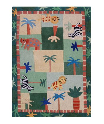 Green Jungle Wool Rug