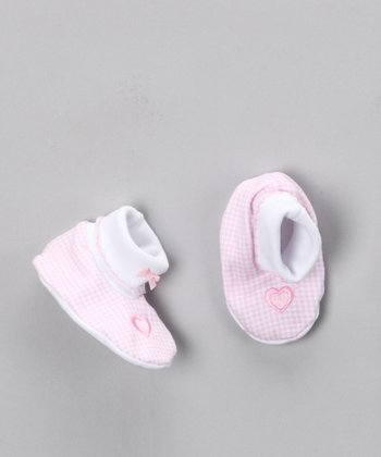 Pink Heart Embroidered Booties