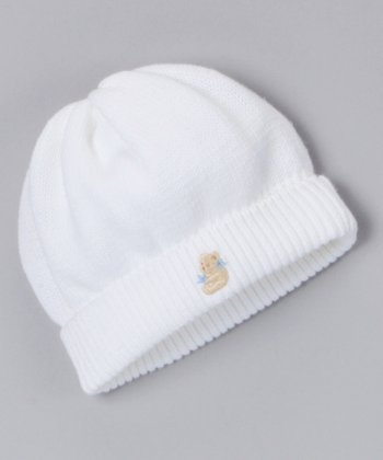 Le Top White Bear Embroidered Beanie - Infant