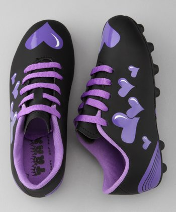Black & Purple Heart Trax Soccer Cleat