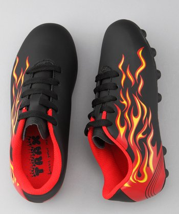 lil' TRAX Black & Red Flame Trax Soccer Cleat