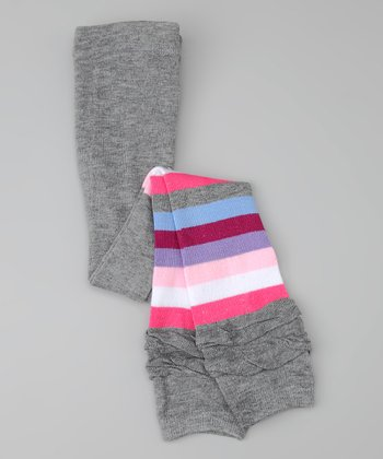 Gray & Pink Stripe Ruffle Leggings