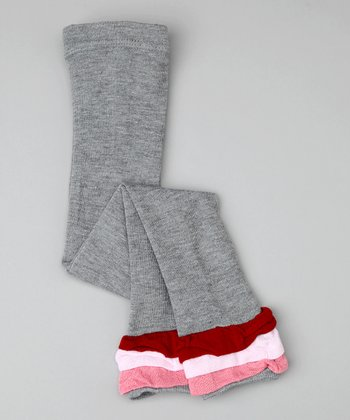 Gray Stripe Ruffle Leggings