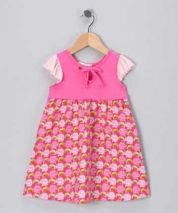 Pink Peony Angel-Sleeve Dress - Toddler & Girls