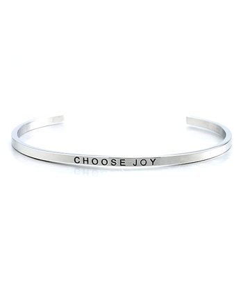 Silver 'Choose Joy' Cuff