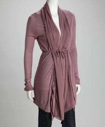 Sepia Pleated Tie-Front Cardigan