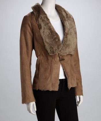 miilla Taupe Faux Fur Collar Jacket
