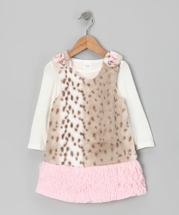 Brown & Pink Faux Fur Cuddle Jumper & Tee - Infant