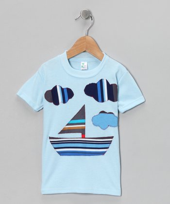mini scraps Blue & Navy Sailboat Tee - Toddler & Boys