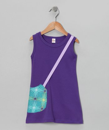 Purple & Teal Purse A-Line Dress - Infant, Toddler & Girls
