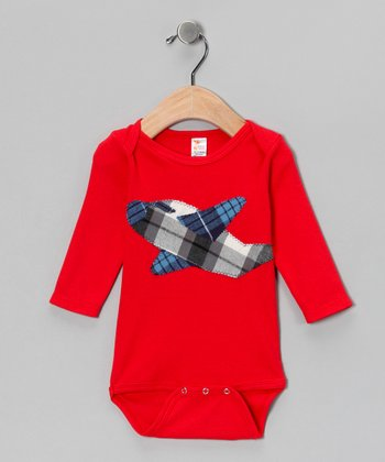 Red & Blue Plaid Plane Bodysuit - Infant