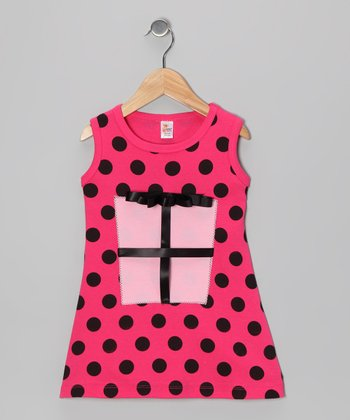 Fuchsia Polka Dot Present A-Line Dress - Infant, Toddler & Girls