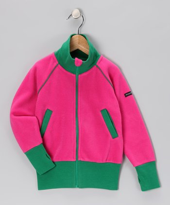 Pink & Green Fleece Track Jacket - Toddler & Girls