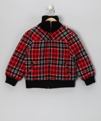 Red & Black Plaid Wool-Blend Jacket - Toddler & Girls