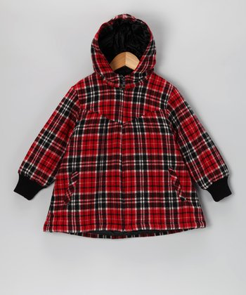 Red & Black Plaid Mod Wool-Blend Coat - Toddler & Girls