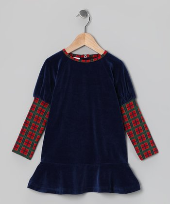 Blue & Red Tartan Velour Dress - Toddler & Girls