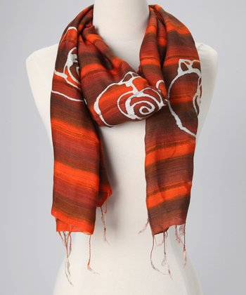 Orange Silk-Blend Batik Scarf