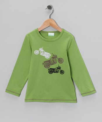 Green Motorcycle Organic Tee - Toddler & Kids