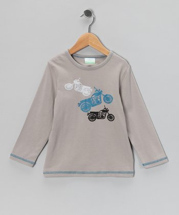 Gray Motorcycle Organic Tee - Toddler & Kids