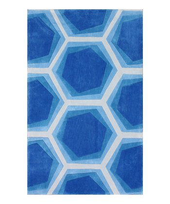 Blue Hexagon Cine Rug