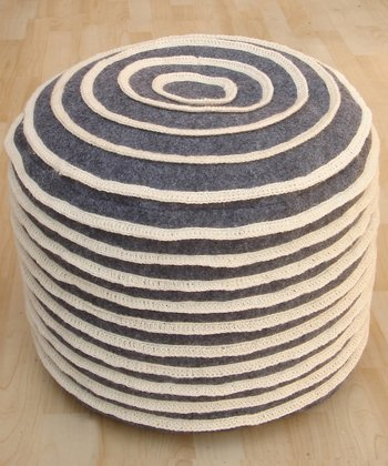 Charcoal Cinnamon Roll Wool Pouf