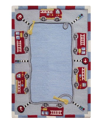 Blue Fire Truck Wool Rug