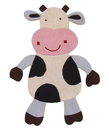 Black Milly the Cow Wool Rug