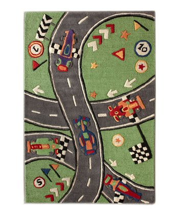 Green Racer Wool Rug