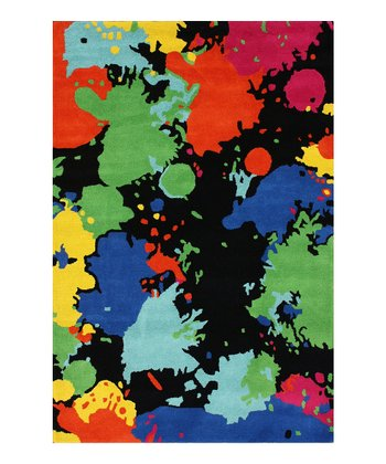 Black Spatter Wool Rug