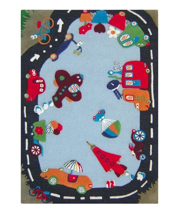 Blue Traffic Time Wool Rug