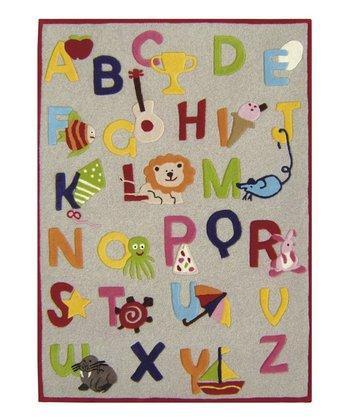 Beige Alphabet Wool Rug