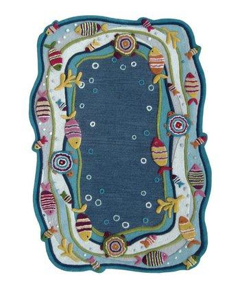 Blue Under the Ocean Wool Rug