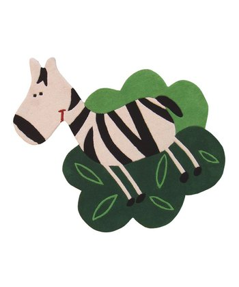 Green Zoe the Zebra Wool Rug