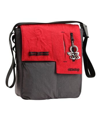 Red & Gray Loft Paige Small Messenger Diaper Bag