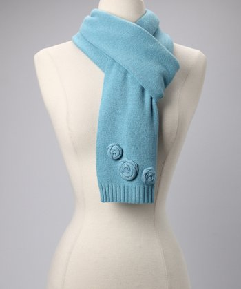 Carolina Blue Rosette Wool-Blend Scarf