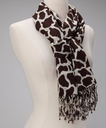 Chocolate & Cream Giraffe Wool-Blend Scarf