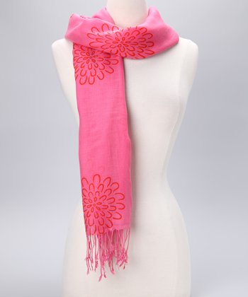Pink & Orange Wool Scarf
