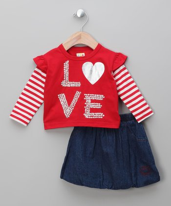 Navy & Red 'Love' Top & Bubble Skirt