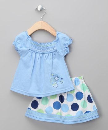 Blue Polka Dot Top & Skirt