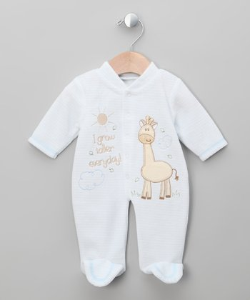 Blue Giraffe Velour Footie