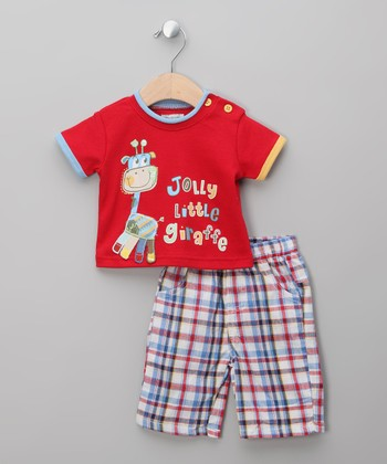 Red Giraffe Tee & Shorts