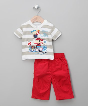 Beige & Red Monkey Tee & Shorts