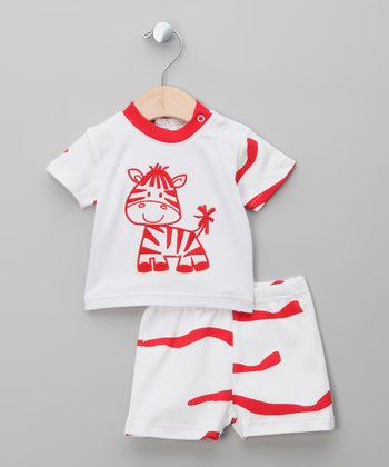 Red & White Giraffe Tee & Shorts