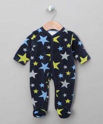 Navy Star Velour Footie