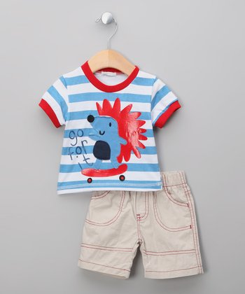 Beige & Red Stripe Hedgehog Tee & Shorts
