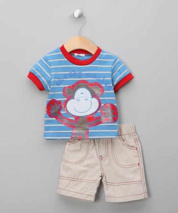 Blue Stripe Monkey Tee & Shorts