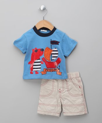 Blue & Beige Bear Tee & Shorts