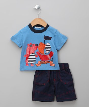 Blue & Navy Bear Tee & Shorts